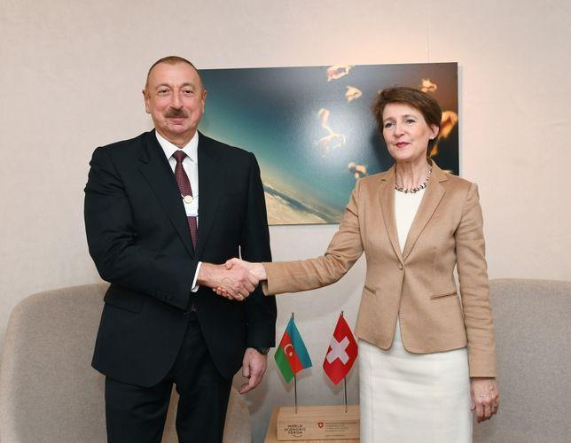 İlham Əliyev İsveçrə Prezidenti ilə görüşüb-Davosda