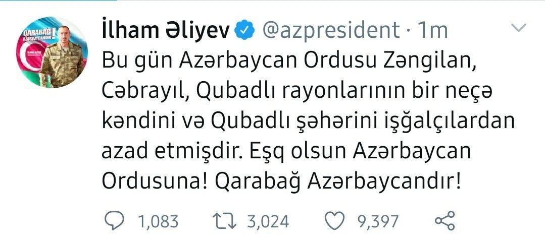 QUBADLI ŞƏHƏRİ VƏ BƏZİ KƏNDLƏR İŞĞALDAN AZAD EDİLDİ! - Ali Baş Komandan yeni zəfər xəbərini verdi! + FOTO