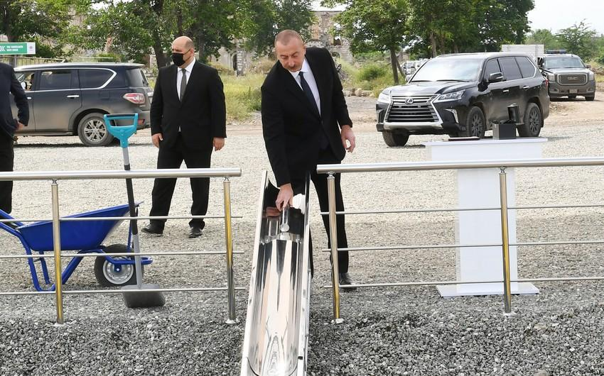 Prezident Daşaltı kəndində tunelin təməlini qoyub